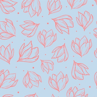 Elegant seamless pattern with hand drawn magnolias