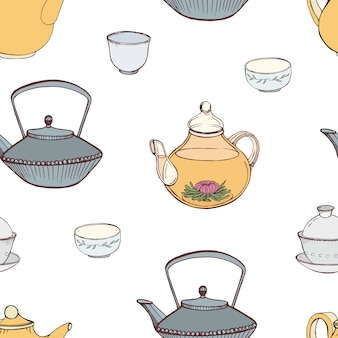 Elegant seamless pattern with hand drawn traditional japanese tea ceremony attributes - cast-iron kettle tetsubin, teapot, cups or bowls. colorful illustration for textile print, wallpaper.