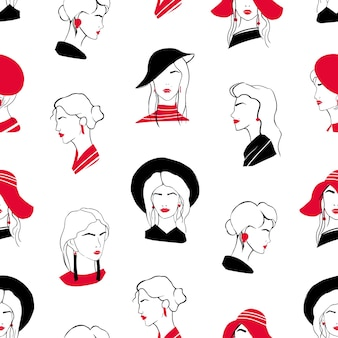 Elegant seamless pattern with heads of beautiful stylish young ladies. backdrop with classy fashionable women on white background. hand drawn vector illustration for wrapping paper, textile print.
