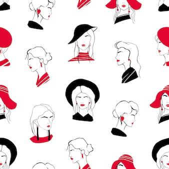 아름 다운 세련 된 젊은 여성의 머리와 우아한 완벽 한 패턴입니다. 흰색 바탕에 고급 유행 여자와 배경입니다. 포장지, 섬유 인쇄에 대 한 손으로 그린 벡터 일러스트 레이 션.