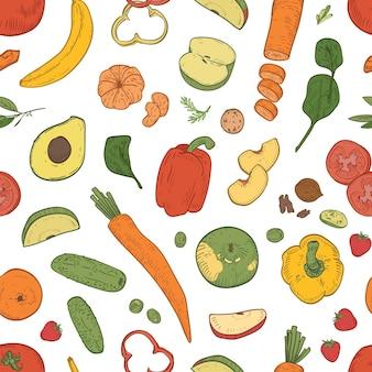 Элегантный бесшовный образец со здоровым питанием, свежими диетическими продуктами, экологически чистыми натуральными органическими фруктами, ягодами и овощами на белом