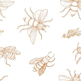 白い背景の上の輪郭線で手描きミツバチとエレガントなシームレスパターン。