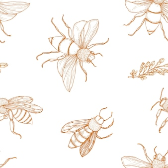 Elegant seamless pattern with honey bees hand drawn with contour lines on white background.