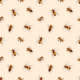 Elegant seamless pattern with honey bees on light background.