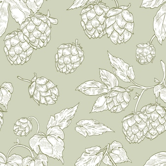 Elegant seamless pattern with hop flowers hand drawn with contour lines on green background