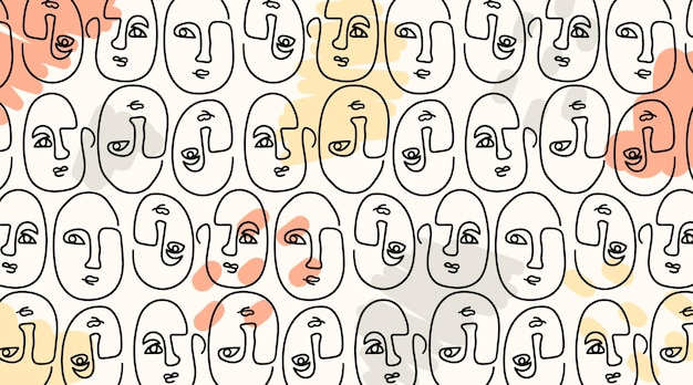 Elegant seamless pattern with one line drawn faces