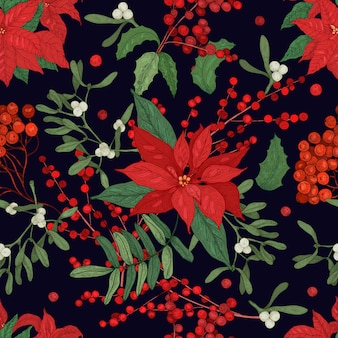 Elegant seamless pattern with parts of winter plants