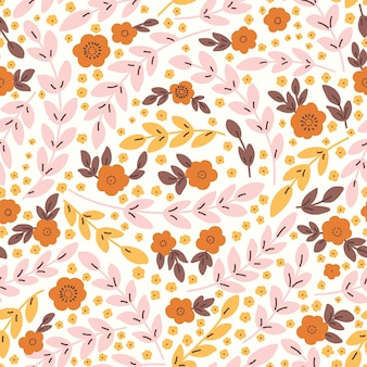 Elegant seamless pattern with pink flowers