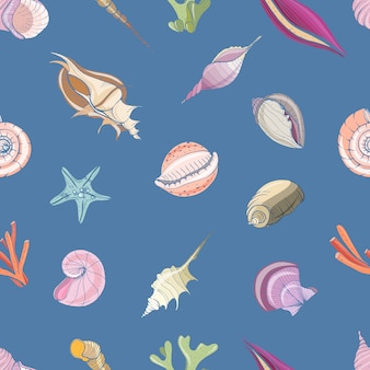 Elegant seamless pattern with seashells or shells of molluscs on blue background.