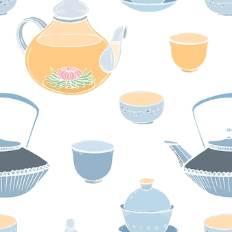Elegant seamless pattern with traditional asian tea ceremony tools hand drawn on white background -