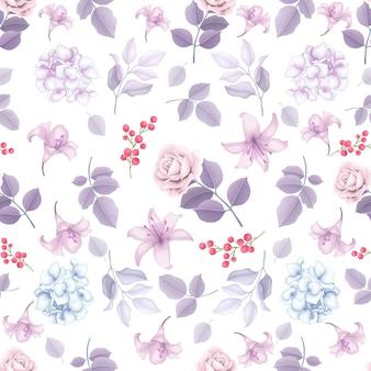 Элегантный бесшовный зимний цветочный узор