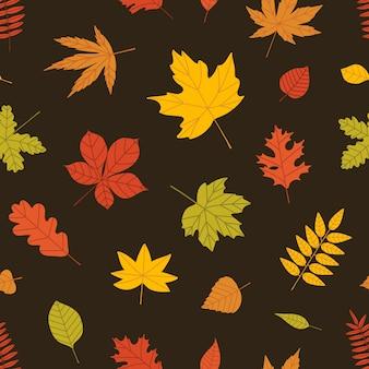 黒い背景に森の木々の紅葉とエレガントな季節のシームレスパターン。包装紙、壁紙、テキスタイルプリントのフラットスタイルの雑多な植物装飾的なイラスト。