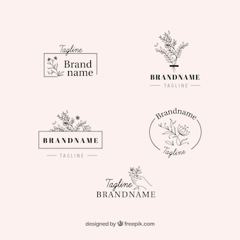 Elegant set of floral logos