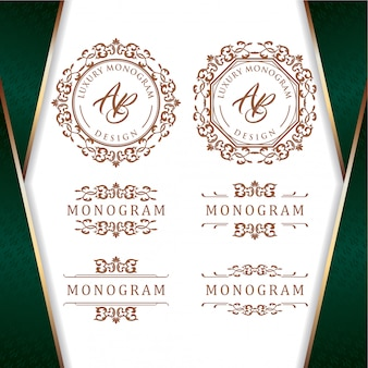 Elegant set of gold ornament designs with luxurious green background