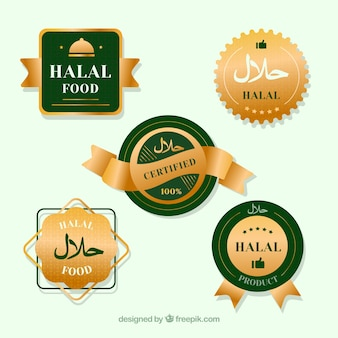 Elegant set of halal food labels with golden style