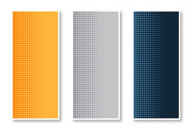 Elegant set of halftone vertical banner background