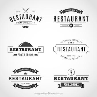 エレガントなクールなレストランのロゴのセット