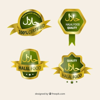 Elegant set of halal food labels with golden style