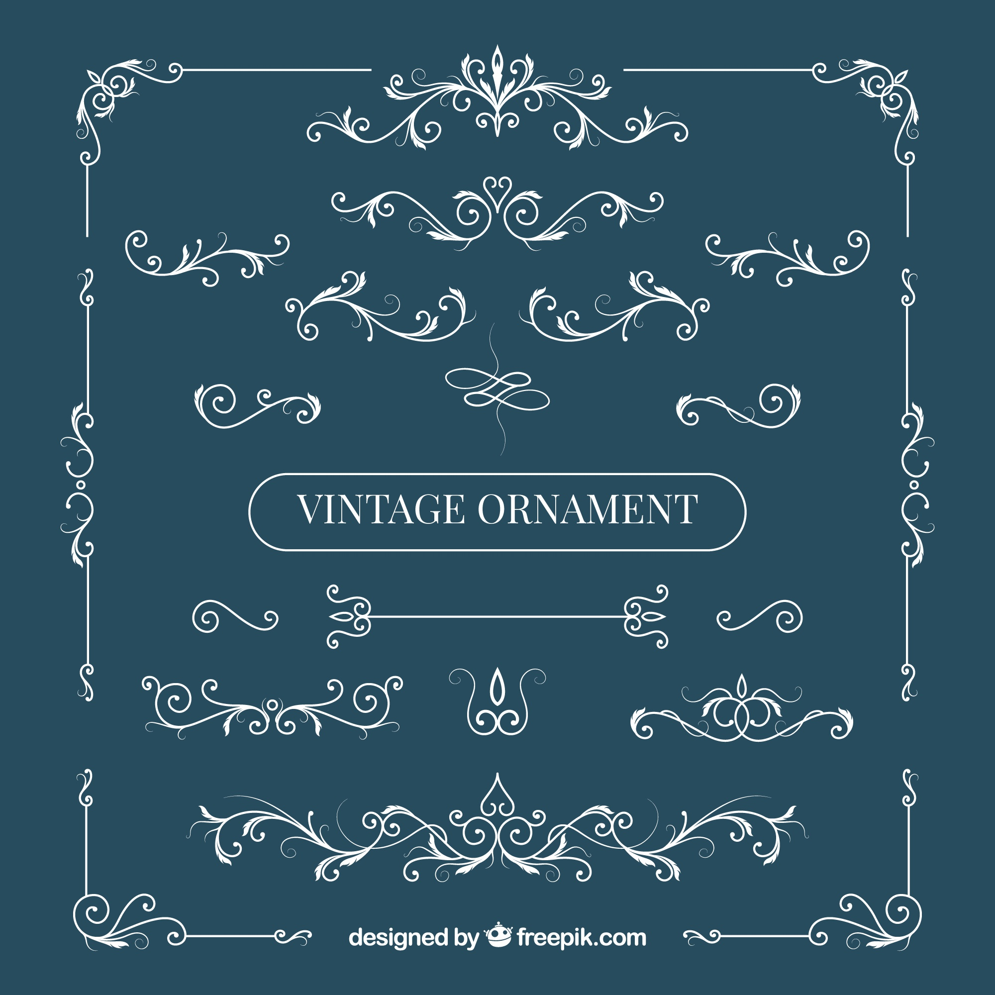 Elegant set of vintage ornaments