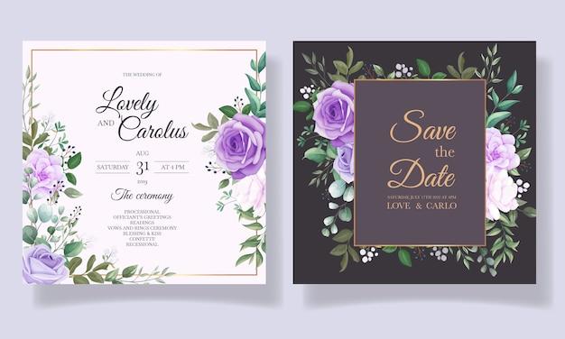 Элегантный набор свадебных пригласительных билетов с красивым фиолетовым цветком