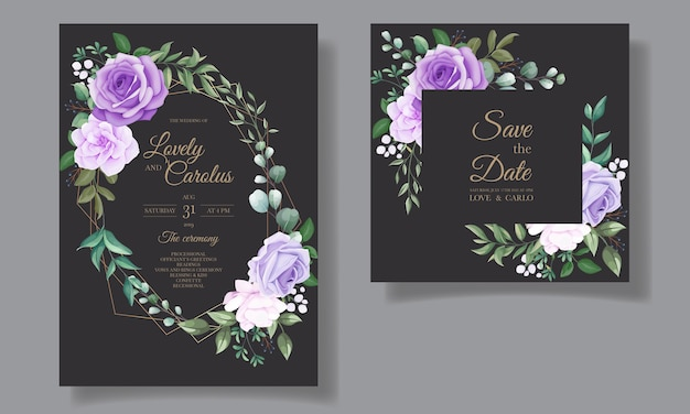 아름 다운 보라색 꽃과 결혼식 초대 카드의 우아한 세트
