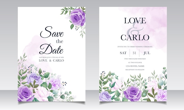 Elegant set of wedding invitation cards with beautiful purple floral
