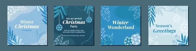 Elegant set of winter christmas holiday posts for social media advertising marketing