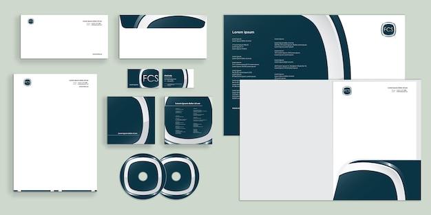 Elegant shape rounded modern corporate business identity stationary