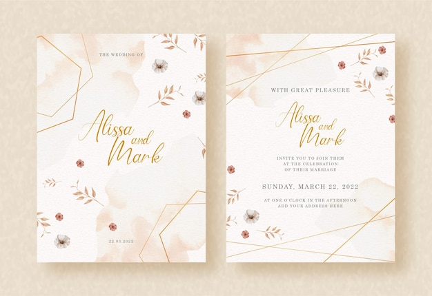 Elegant shape with florals pattern watercolor on wedding invitation