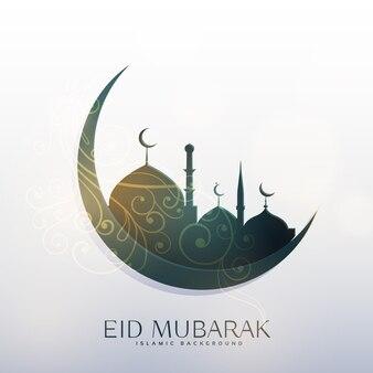 Луна и мечеть с цветочным декором для приветствия фестиваля eid