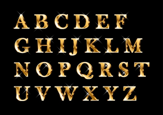 Elegant shiny gold alphabets set