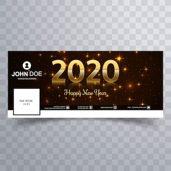 Elegant shiny golden happy new year 2020  cover
