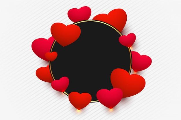 Elegant shiny hearts frame for valentines day