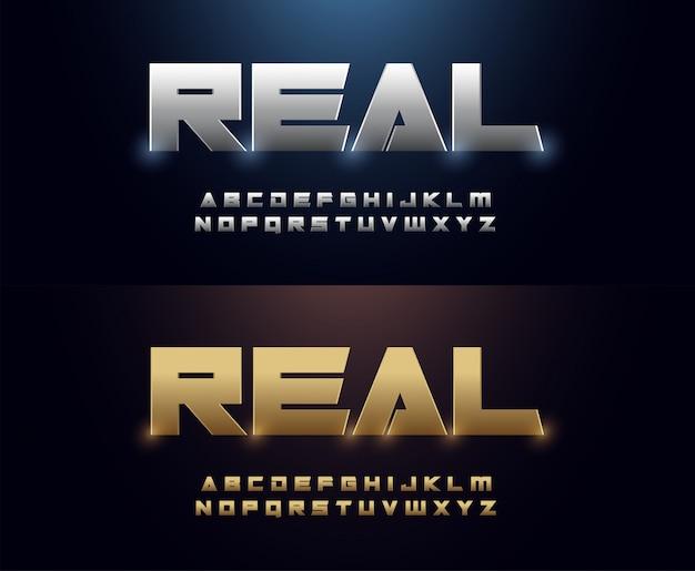 우아한 은색과 황금색 금속 크롬 알파벳 글꼴
