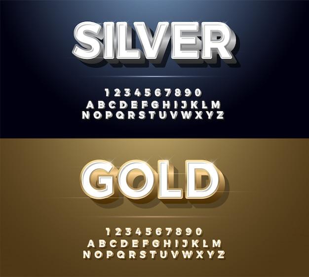 エレガントなシルバーとゴールデンメタルchrome alphabetフォントの