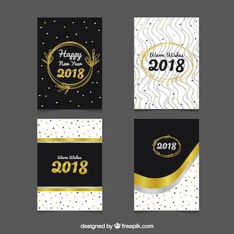 Элегантные серебряные и золотые новогодние карты 2018 года с точками