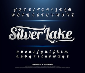 Elegant silver Colored Metal Chrome alphabet font