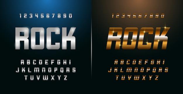 Elegant silver and golden colored metal chrome alphabet font and number set