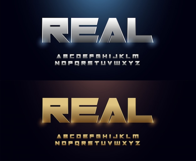Elegant silver and golden colored metal chrome alphabet font