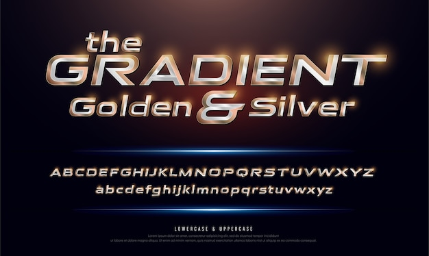 Elegant silver and golden gradient colored metal chrome alphabet font