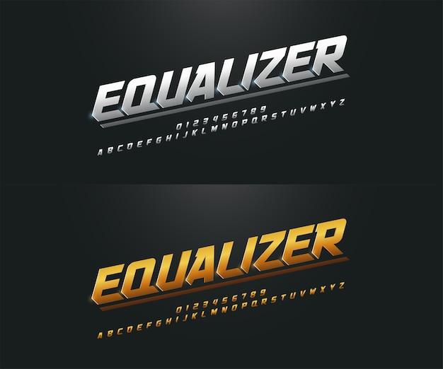 Elegant silver and golden metal chrome alphabet font