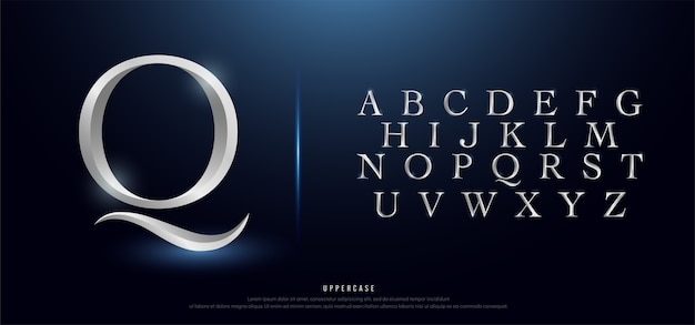 Elegant silver metal chrome uppercase alphabet font