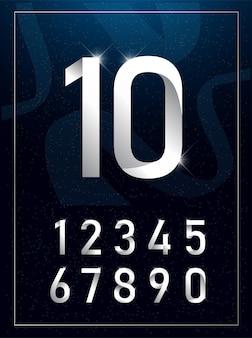 Elegant silver metal numbers.