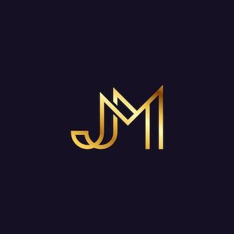 Elegant simple letter initial jm logo design template