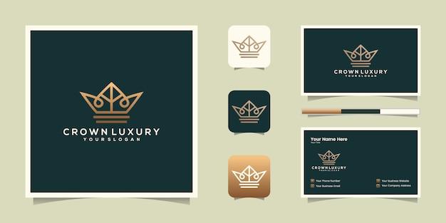 エレガントでシンプルなロゴの王冠デザイン、王国、王、リーダーのシンボル、名刺