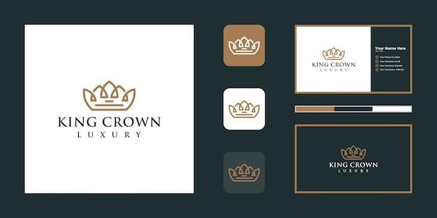 エレガントでシンプルなロゴの王冠、王国、王、リーダーのシンボルと名刺