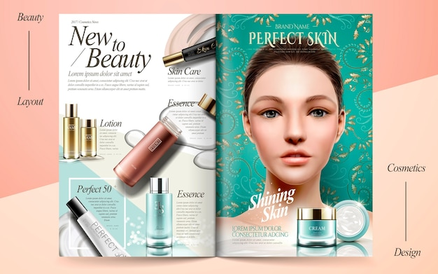 Elegant skin care brochure design illustration