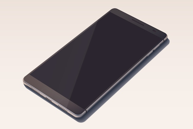 빈 화면이 검은 색의 우아한 스마트 폰