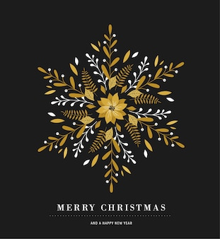 Elegant snowflake poster, winter icon, merry christmas greeting card template