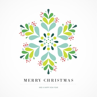 Элегантный плакат снежинки, зимний значок, шаблон поздравительной открытки с рождеством